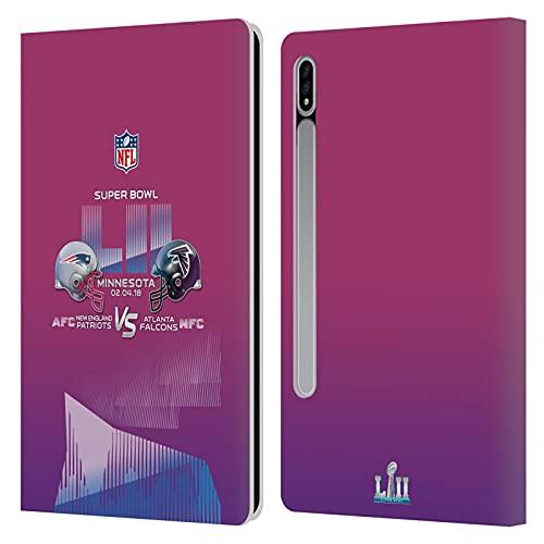 Head Case Designs Licenciado Oficialmente NFL Patriotas vs Águilas 4 2018 Super Bowl LII Versus Carcasa de Cuero Tipo Libro Compatible con Samsung Galaxy Tab S7 5G
