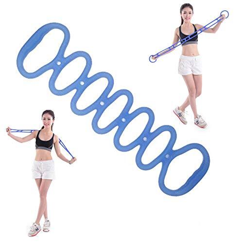 Xkfgcm Bandas de Resistencia para Yoga Pilates Cuerda de Silicona de Ejercicios Aparatos de Gimnasia de Elástica de Entrenamiento Herramientas de Corporal de Ejercicio de Fitness Banda(Azul)