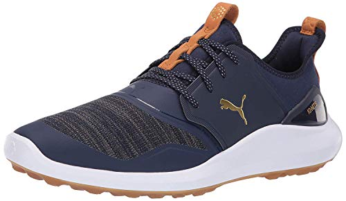 Puma Golf Men's Ignite Nxt Lace Golf Shoe, Peacoat-Puma Team Gold-Puma White, 11.5 M US