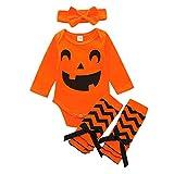 SUMTTER Halloween Baby Strampler Cosplay Kostüm für Neugeborenes Baby Jungen Mädchen Kürbis Kostüm Ärmel Jumpsuits + Stirnband + Fußbedeckung Outfits Set