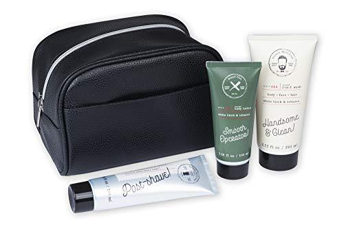 Tri-Coastal Design - Kit de voyage pour hommes avec baume après-rasage parfumé, gel lavant 3 en 1 et lotion pour le corps dans un étui de rangement à fermeture éclair (Set of 3)