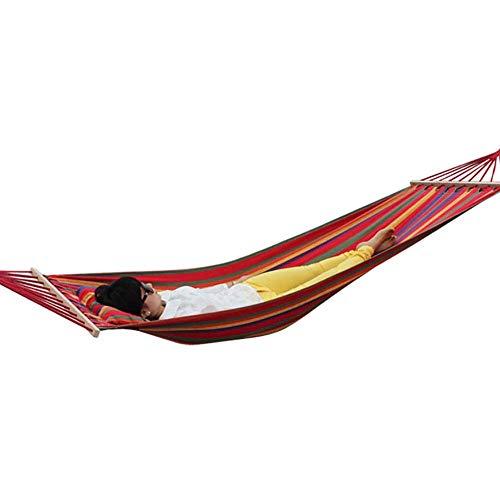 SHARESUN Single met beugel outdoor camping hangmat, dikke katoenen canvas met kussen recreatieve opknoping stoel, volwassen kinderligstoel, schommelbed, draaggewicht 120kg, 200 * 80cm