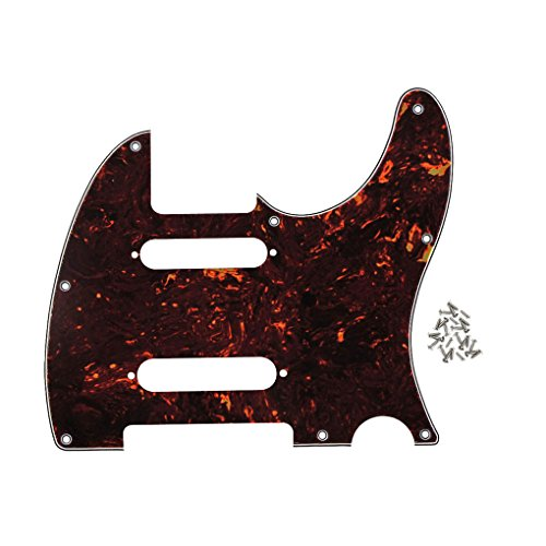 IKN 8 Hole SS Guitar Tele Pickguard Plate con tornillos Fit Fender Nashville Telecaster Pickguard Replacement, 4Ply Deep Brown Tortoise Shell