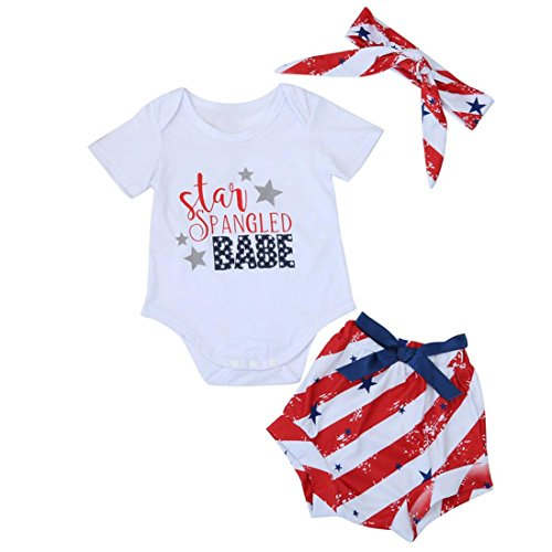 Staron Newborn Baby Boy Girl Star Striped Romper Shorts Pants Infant Clothes Set (12-18 Months, White)