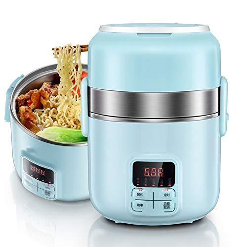 Elektrische snelkookpannen, rijstkokers multi-functionele laag 3, schoolreizen draagbare en intelligente elektrische verwarming lunchbox, 2L grote capaciteit, roestvrijstalen voering