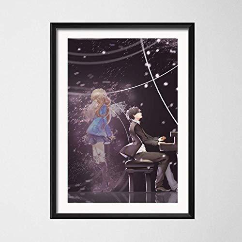 ysldtty Pintura de la Lona Poster Your Lie In April Hot Japan Anime Art Wall Decoración para el hogar E441 Sin Marco 40cmx60cm