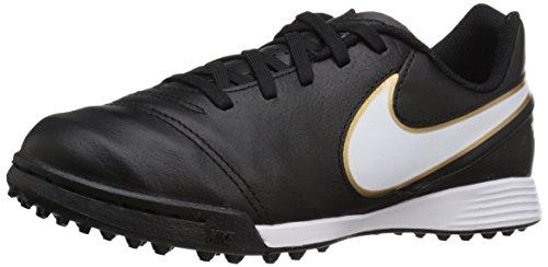 Nike Jr Tiempo Legend Vi Tf Scarpe da calcio allenamento, Unisex bambini, Multicolore (Black/White-Metallic Gold), 28, Multicolore (Negro / Blanco / Dorado (Black / White-Metallic Gold)), 38