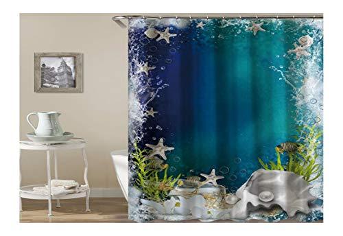 AnazoZ Duschvorhang Anti-Schimmel, Wasserdicht Vorhänge an Badewanne Antibakteriell, Bad Vorhang für Dusche 3D Unterwasser Seestern Fische, 100% PEVA, inkl. 12 Duschvorhangringen 90 x 180 cm