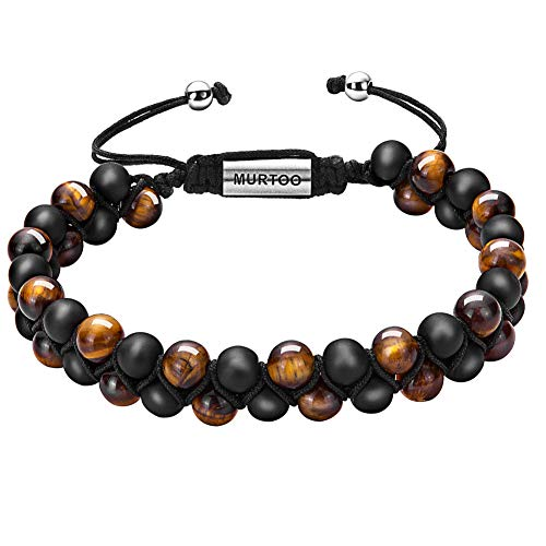 murtoo Mens Lava Rock Bracelet, Tiger Eye Bead Bracelet for Men Natural Stone Yoga Essential Oil Bracelets for Gift (7.3″, Black Bead-Tiger Eye Stone 6mm)