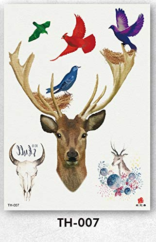 HXMAN 5pcs Temporary Tattoos Waterproof Arm Tattoo Stickers Children Fawn Pattern Tatouage Temporaire Homme 14.8x15cm Christmas Th-007