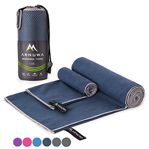 ARNUWA Microfiber Camping Travel Towel Quick Dry Ultra Absorbent Compact, Navy Blue L