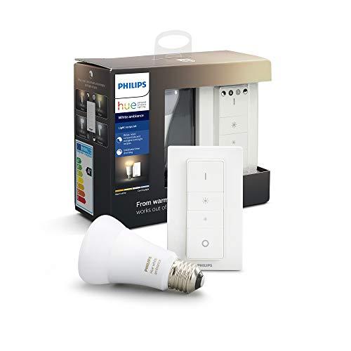 Philips Hue Bombilla inteligente LED E27 con Mando Inalámbrico,...