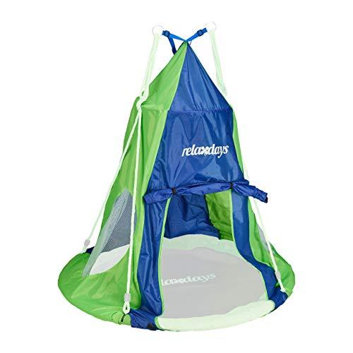 Relaxdays, blau-grün Zelt für Nestschaukel, Bezug für Schaukelsitz bis 110 cm, Rundschaukel Zubehör, Garten Schaukelnest