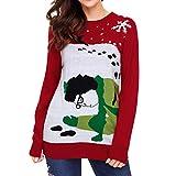 ReooLy Mujer Otoño Invierno Cuello Redondo Manga Larga Tejer Casual Suéter de Navidad(S,Rojo)