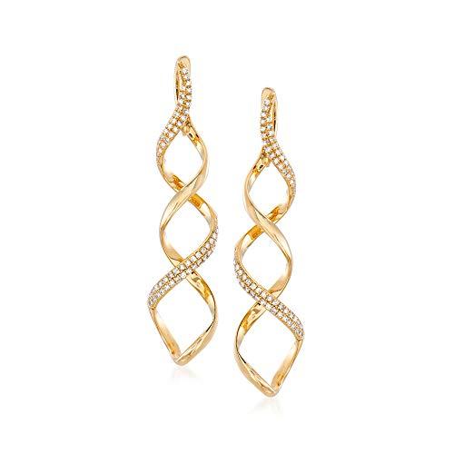 Ross-Simons 0.37 ct. t.w. Diamond Spiral Drop Earrings in 14kt Yellow Gold