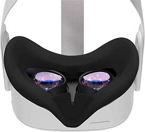 RGEEK VR Silicone Face Cover for Oculus Quest 2 VR Headset Sweat-Proof Lightproof Non-Slip Washable Replacement Face Pads Oculus Quest 2 Accessories(Black)