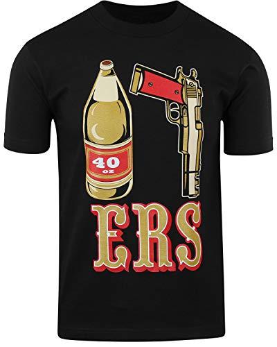 Mens T Shirt 40oz 9MM Gold Gun Mens T Shirt San Francisco Pistol Golden Empire (40 Nine ERS, XL)