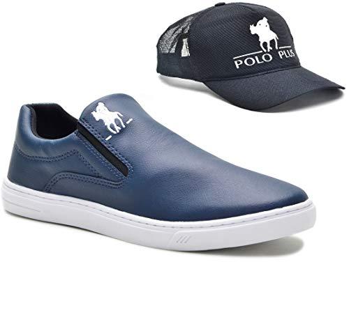 Tênis Slip On Casual Polo Plus Masculino Solado Tr Confort + Boné Cor:Azul;Tamanho:42