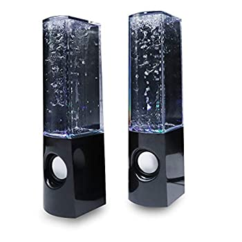 Aolyty Colorful LED Water Speaker with Dancing Fountain Light Show Sound for PC MP3 Player Laptops Smartphone Black