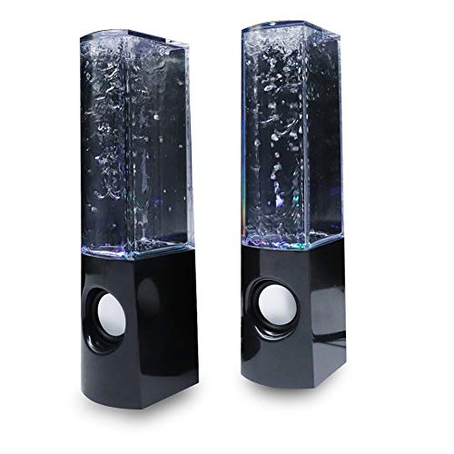 Aolyty Colorful LED Water Speaker with Dancing Fountain Light Show Sound for PC, MP3 Player, Laptops, Smartphone Black