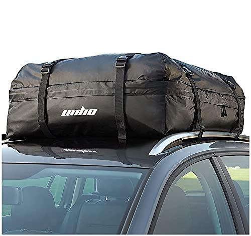 LUVODI Dachbox Dachkoffer Auto wasserdicht, Faltbare Gepäckbox Cargo Carrier Bag für Reisen und Gepäcktransport Schwarz haltbar PVC 425L