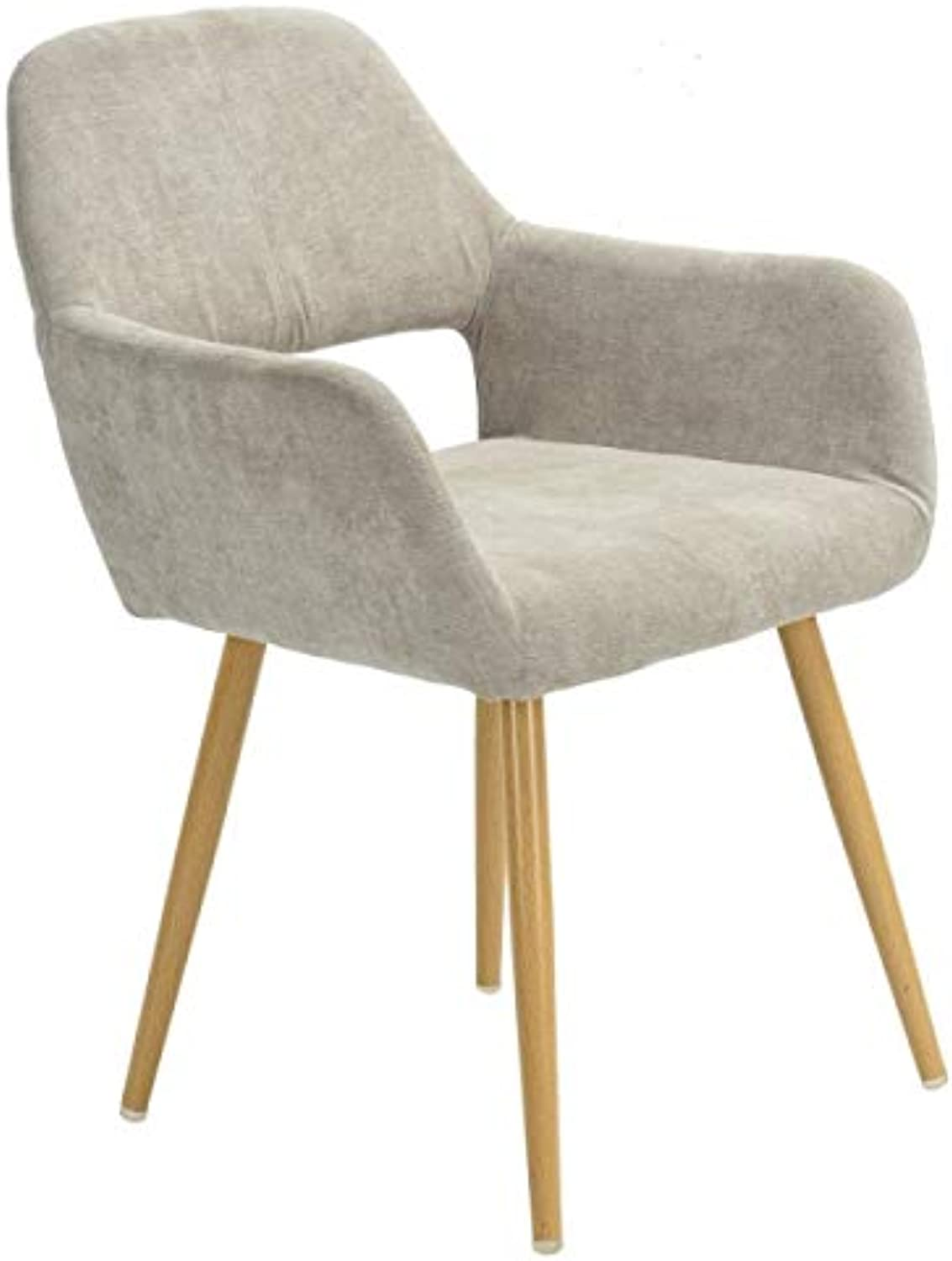 Dining Side Chair with Arm - Steel Legs Fabric Cover Beige