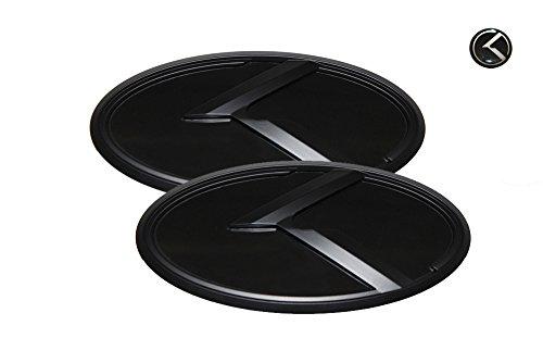 3D K Logo Emblem Black & Black Edition Set 3pc Front + Rear + Mini Sticker (Fits: KIA 2015-2018 K900, K9, Quoris)