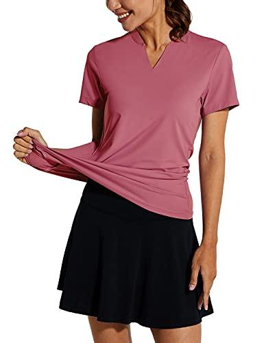 BALEAF Women's Golf Tennis Shirts V-Neck Lightweight Quick Dry UPF 50+ Sun Protection Short Sleeve Polo Shirts Collarless Light Pink Size L