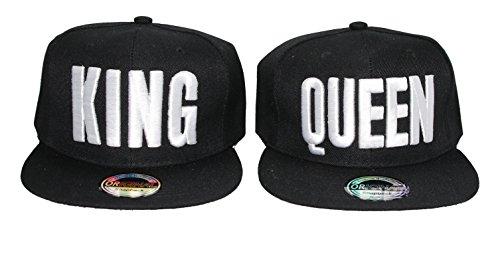 Snapback Cap King Queen Mr Mrs Brother Sister Damen Herren Caps Camouflage (K&Q Black)