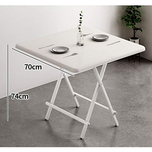 Mesa plegable de comedor para casa simple, pequeña apartamento, mesa cuadrada portátil, camping al aire libre, 6 colores (color blanco, tamaño: 74 x 70 cm)