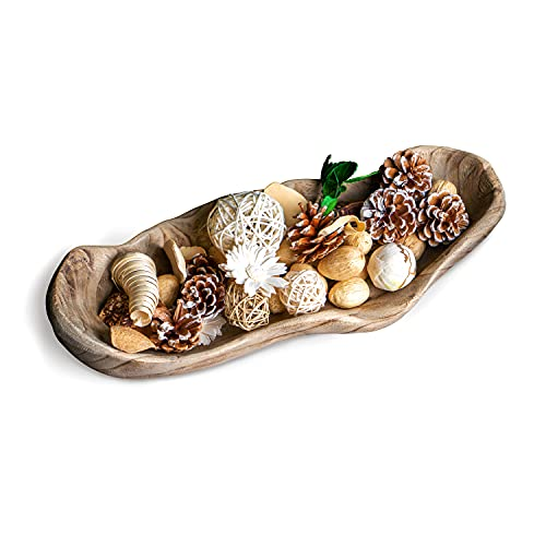 Moxy Meadows Wooden Dough Bowl - Hand Carved 16 inches long Wooden Decorative Bowl, great as a Large Fruit Bowl or for Farmhouse Décor. Add style to your home with our wooden dough bowls for décor.
