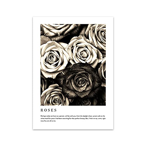 jiayouernv Moda Coco Cotizaciones Póster Imprimir Flor Mujer Perfume Arte De La Pared Pintura De La Lona Imágenes Modernas De Moda para La Sala De Estar Decoración del Hogar N104 50X90Cm