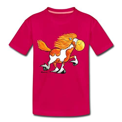 Islandpferd Tölt Tölten Comic Kinder Premium T-Shirt, 110-116, Dunkles Pink