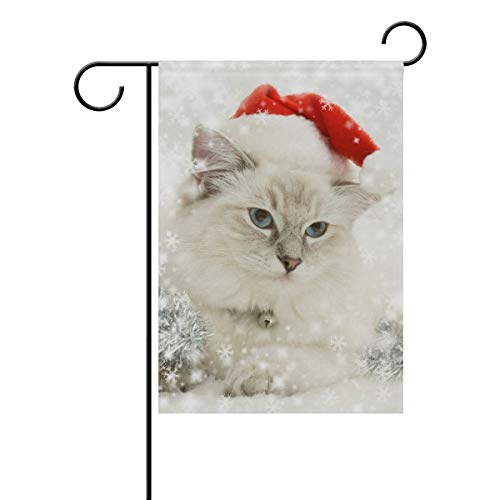 HOOSUNFlagrbfa Garden Flag Decorative Cute White Cat Merry Christmas 12x18 inch Polyester Double Sided Printed Outdoor Courtyards