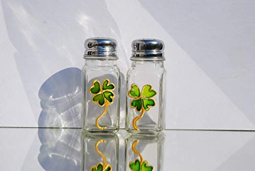 Green Four Leaf Clover Shamrock Hand Painted Glass Salt and Pepper Shakers Set