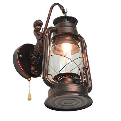 Retro Industrielle Wandleuchten E27 Meerjungfrau Petroleumlampe Innen LED Wandlampe mit Zugschalter, Vintage Wandlichter Wand-Beleuchtung für Wohnzimmer/Schlafzimmer/Korridor/Hotels/Loft,Messing