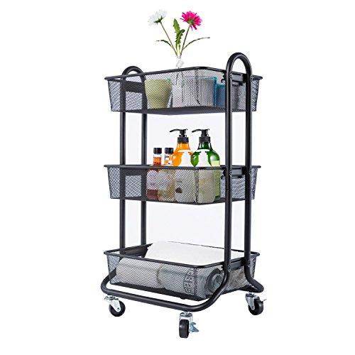 DESIGNA 3-Tier Rolling Utility Cart Storage Shelves Multifunction, Metal Mesh Baskets, Pantry Cart with Lockable Wheels, Black