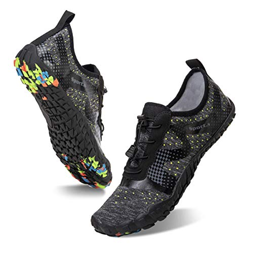 Water Shoes for Men and Women Quick-Dry Aqua Sock Outdoor Athletic Sport Shoes for Kayaking,Boating,Hiking,Surfing,Walking (A-Gray/Black, 39)