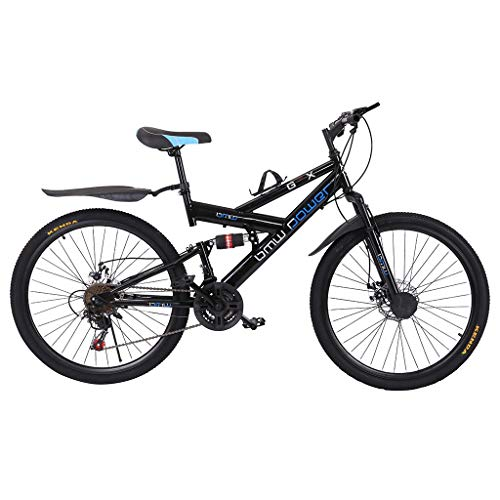 Mountain Bike for Adult Teens, Folding Non-Slip MTB Bike, 26 Inch Wheels, 21-Speed, Aluminum Frame, Full Suspension, Dual Disc Brake, Outroad Racing Bicycle (from US. Black, 59x9.8X (23-27.5) in)