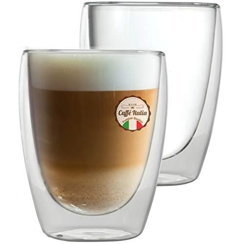 Caffé Italia Torino 4 x 250 ml Doppelwandige Gläser -Thermogläser für Cappuccino Tee Heiß- und Kaltgetränke - spülmaschinengeeignet