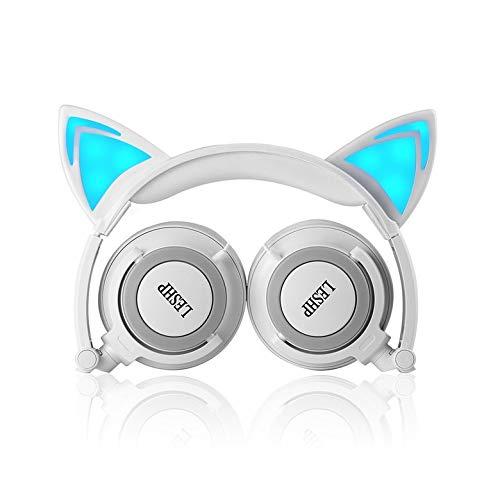Bubbry Kinder-Cartoon-kattenoor-koptelefoon met lichtgewicht, draagbare, bekabelde hoofdband