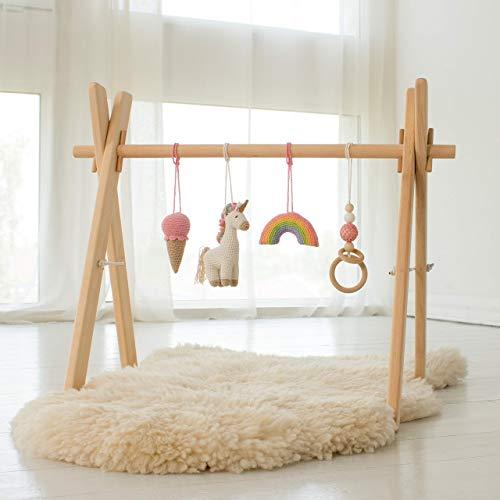 Unicorn Wood Baby Play Gym Frame with 4 Mobiles by LanaCrocheting - Unicorn, Rainbow, Ice cream, Ring – Handmade in Eastern Europe - Montessori. Foldable Natural Baby Girl, Gift