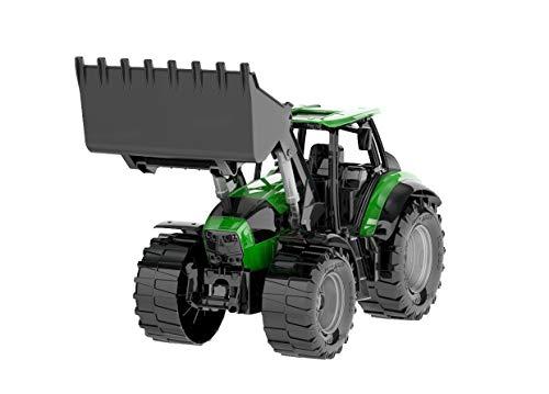 Lena 4613 x Worxx Traktor Modell Deutz-Fahr Agrotron 7250 TTV mit Frontlader, ca. 45 cm, Landwirtschaft Spielfahrzeug für Kinder ab 3 Jahre, robuster Trecker mit funktionstüchtiger Ladeschaufel, Grün