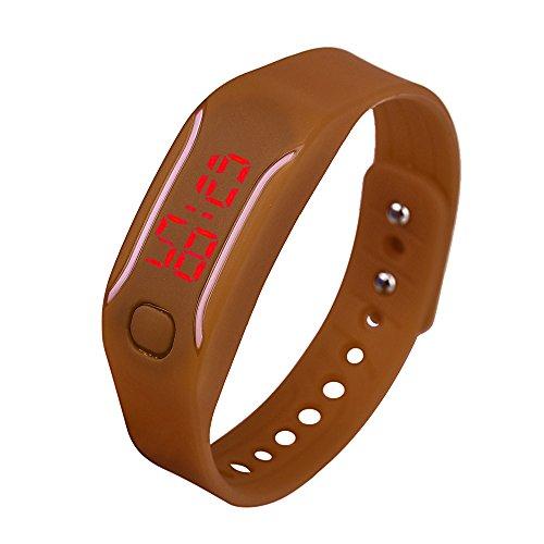Evansamp Smart-Armbanduhr für Damen, analog, digital, LED, neutrale Sport-/Fitness-Uhr, braun (Braun) - Evansamp20113