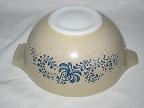 Vintage 1970's Pyrex HOMESTEAD Tan & Blue Cinderella 1 1/2 Quart Mixing Batter Nesting Bowl – Made In USA