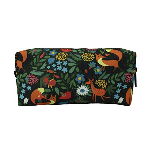 LParkin Woodland Animals Fox Canvas Pencil Case for Girls Fabric Zipper Pouch Gift For Friends Red Fox Zipper Pouch Gadget Bag Make Up Case Cosmetic Bag Stationary Students Kawaii Box