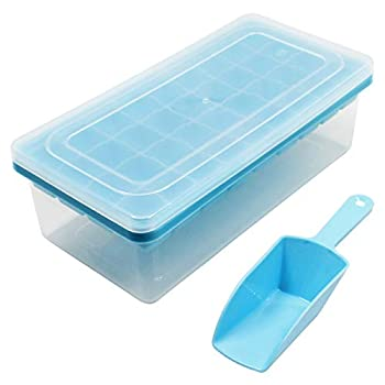 witice Ice Cube Tray With Lid and Bin - 36 Nugget Silicone Ice Tray For Freezer,Comes with Ice Container Scoop and Cover,For Cocktail Whiskey Freezer Blue