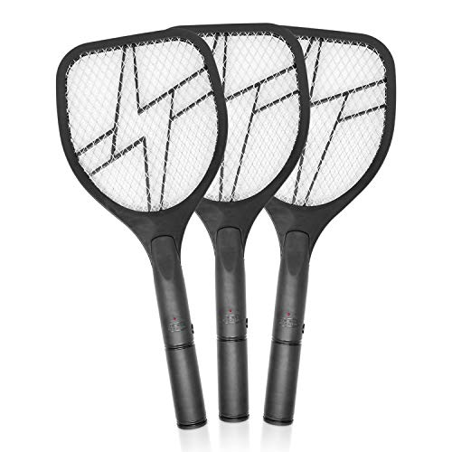 BUGKWIKZAP BUGBLK2AA 3PK | Powerful AA Battery Powered 3300 Volt Grid, Electric Fly, Electric Fly Swatter for Mosquito, Bugs, Flies and Insects