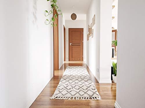 RugsX Passatoia Corridoio, Tappeto Berber Shaggy, Frange, berbero, Marocchino Stile, per Cucina, Sala, Beni Crema 60x200 cm