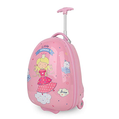Kids Luggage with Wheels for Girls Pink Princess Hard Shell 16 Inch Upright Rolling Suitcase Cute Cartoon Printed PC+ABS NEWCOM